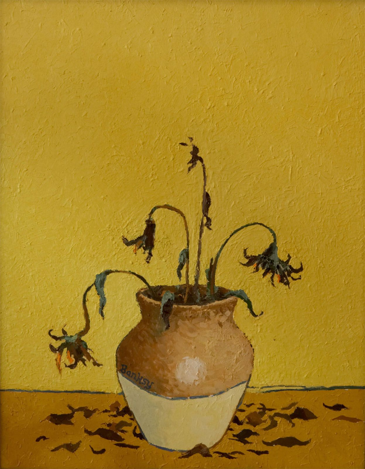 Van Gogh\'s Sunflowers by Banksy - too funny!! That\'s what they\'d be ...