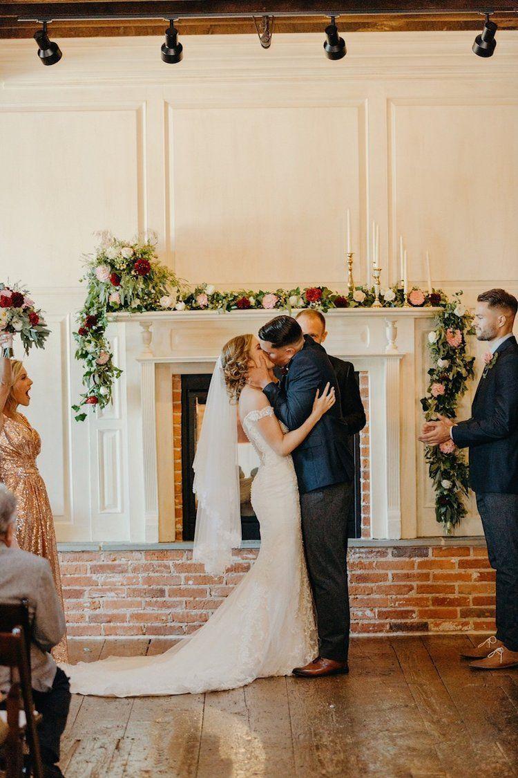 Wedding Ceremony Decor Mantle Garland Dark Red Blush White