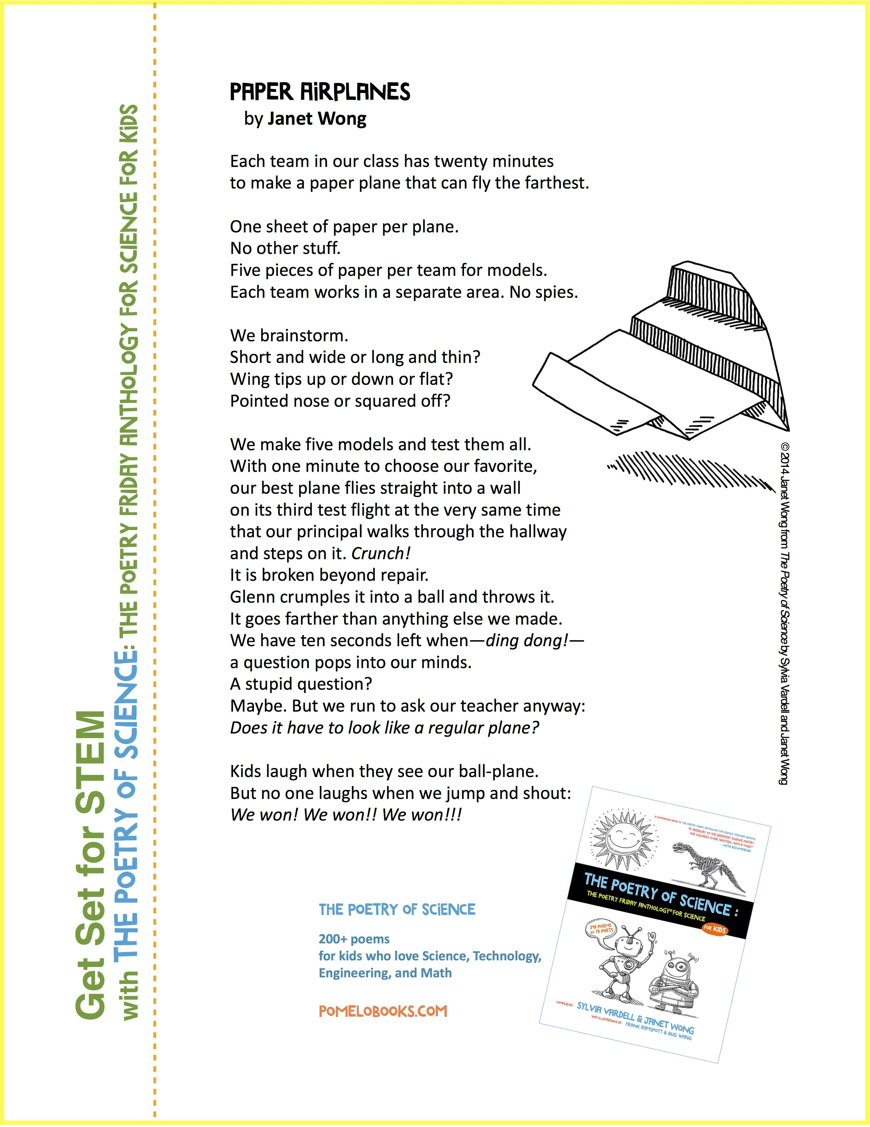 Share Paper Airplanes By Janet Wong From The Poetry Of