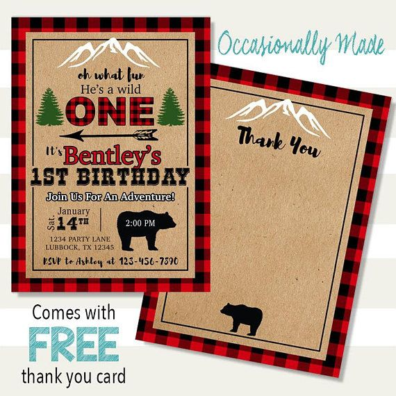 He's A Wild One Lumberjack Birthday Invitation - Digital ...