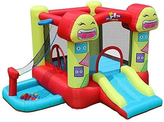 L.HPT Smiley Trampoline Children s Slide Inflatable Castle and Slide, Outdoor Playground Home Trampoline Kindergarten Naughty Castle Children s Best Gifts Color 290 288 183cm Uptodate