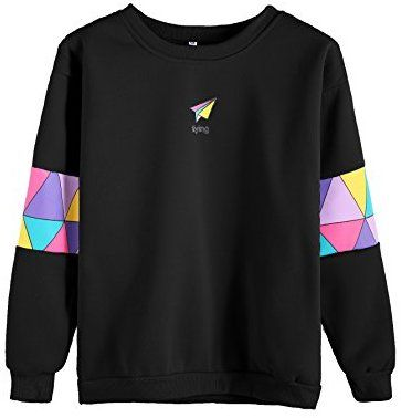 603f0ffd5 Romwe Women's Top Long Sleeve Color Block Paper Airplane Graphic Print  Patchwork Trim Tee Shirt Sweatshirt