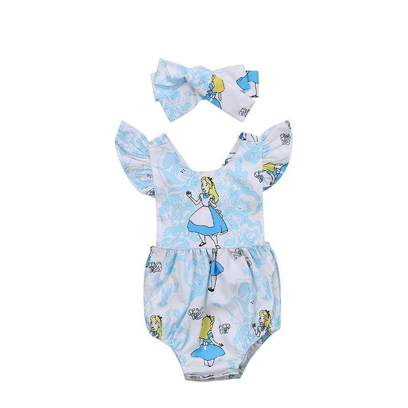 Alice In Wonderland baby Girl Fancy Romper Bodysuit Costume Halloween Outfit