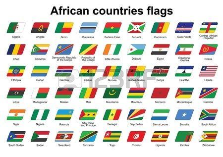 Conjunto De Los Países Africanos Banderas Iconos Banderas Africanas Paises Y Sus Banderas Banderas
