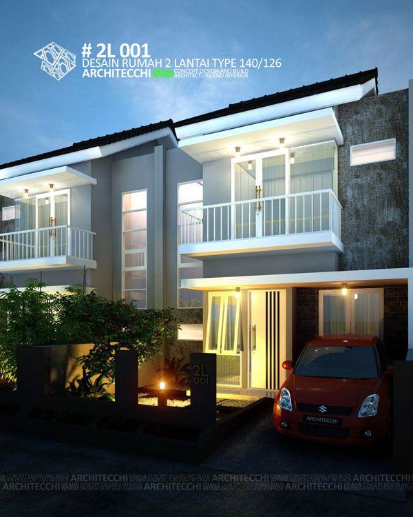 Desain rumah 2 lantai dengan konsep minimalis  ini memiliki