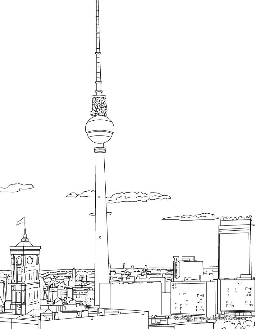 all famous places in germany coloring pages including this berlin tv tower coloring page are