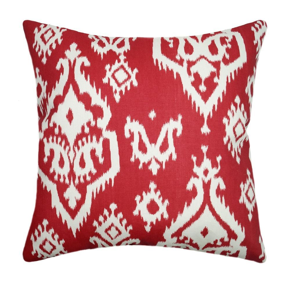 Raji - Carmine Red Modern Ikat Decorative Throw Pillow #PremierPrints
