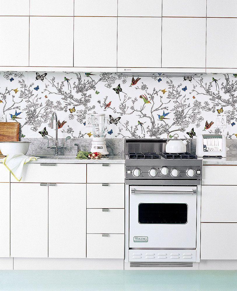Apply A Mirrored Backsplash Wallpaper Backsplash Kitchen White Kitchen Appliances Kitchen Wallpaper