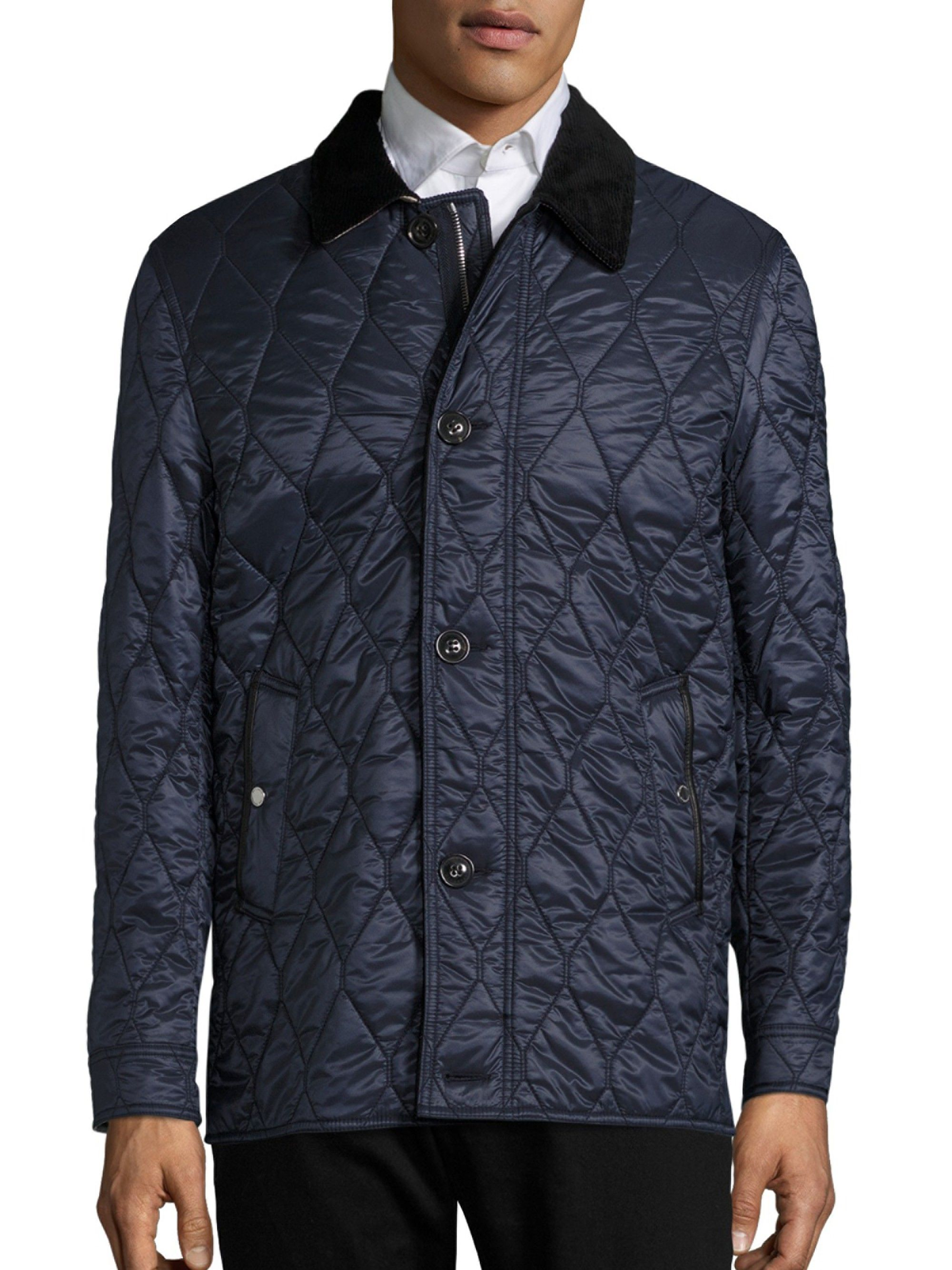 Burberry Gransworth Quilted Jacket In Navy Modesens Quilted Jacket Jackets Burberry