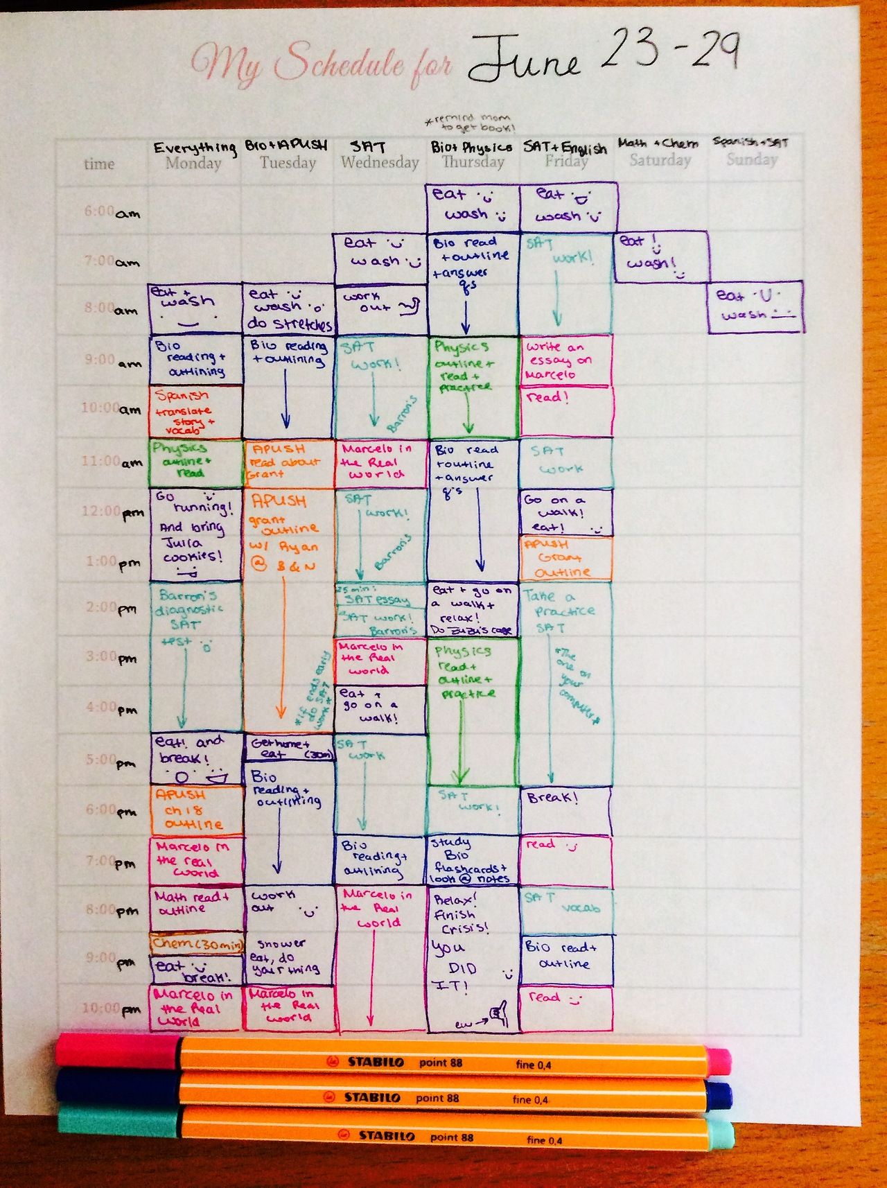 study inspo how to make a summer study schedule school