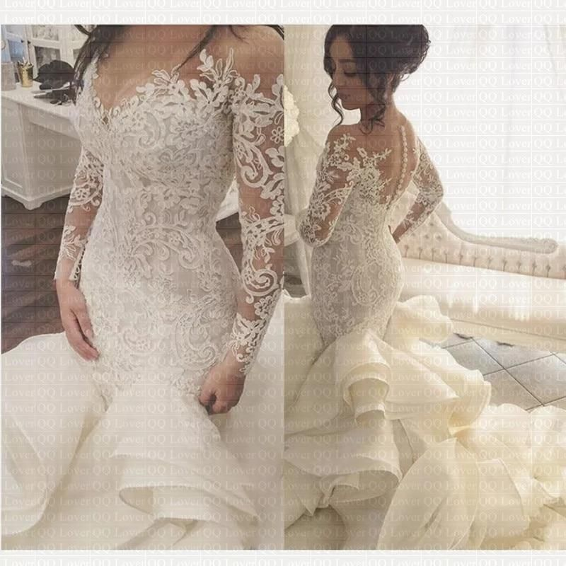 2019 Sheer Neck Vintage Mermaid Wedding Dress Stunning Ruffles Bridal Gown Wedding Dress Lace Mermaid Wedding Dress Ruffle Bridal Gown Wedding Dresses