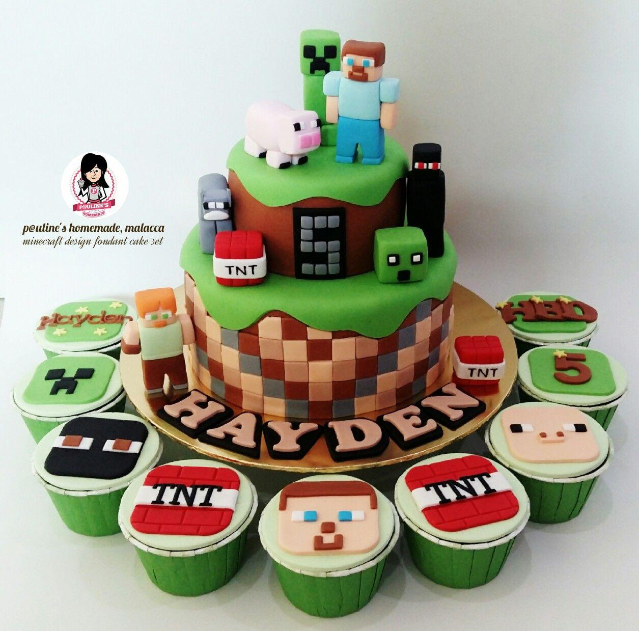 Minecraft ☆ Design Fondant Cake & Cupcakes Set # ...