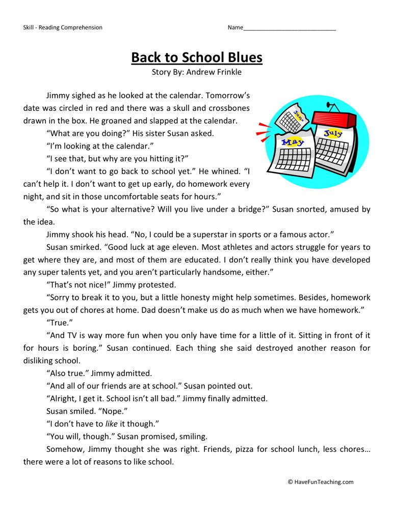 Reading Worksheets For 3rd Grade : Back to school blues reading comprehension pinterest