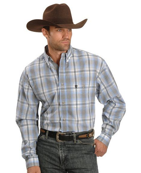 352f156b Wrangler 20X White Ombre Plaid Shirt | Cowboy Style | White ombre ...