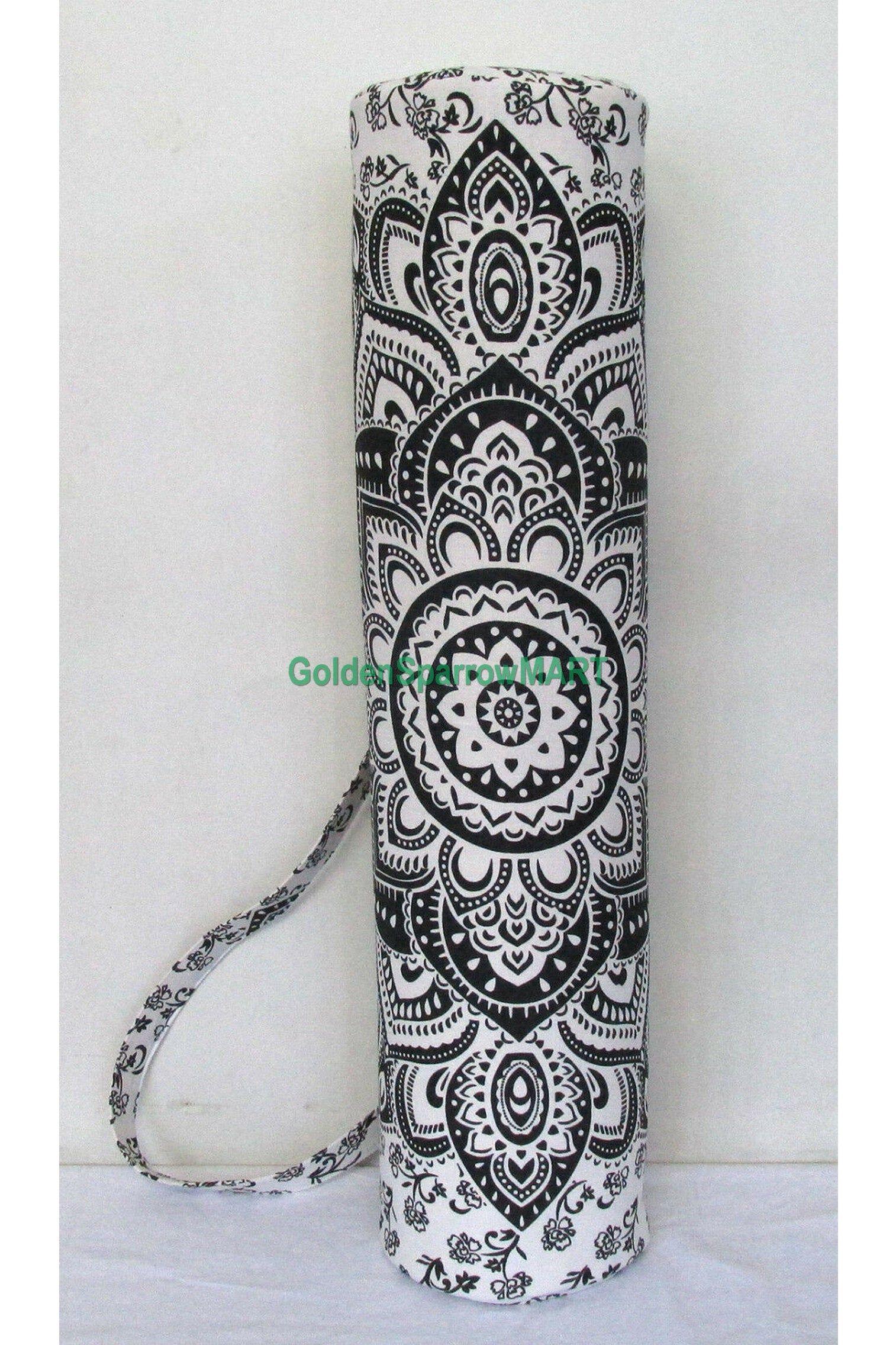 Black Golden Yoga Mat Carrier Bag Hippie Mandala Cotton Bags With Shoulder Strap