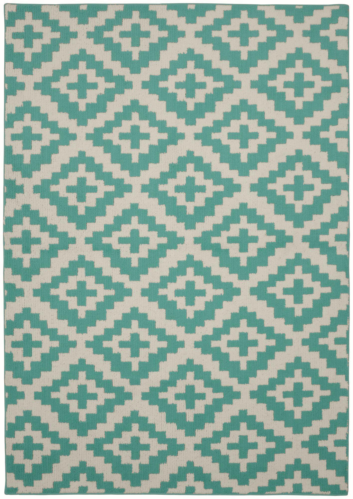 Southwest teal ivory area rug