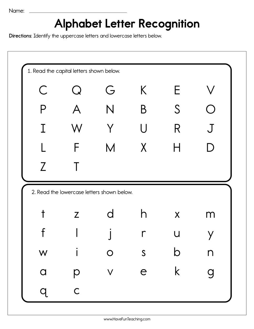 Alphabet Letter Recognition Assessment Letter Recognition Worksheets Alphabet Letter Recognition Letter Recognition Kindergarten
