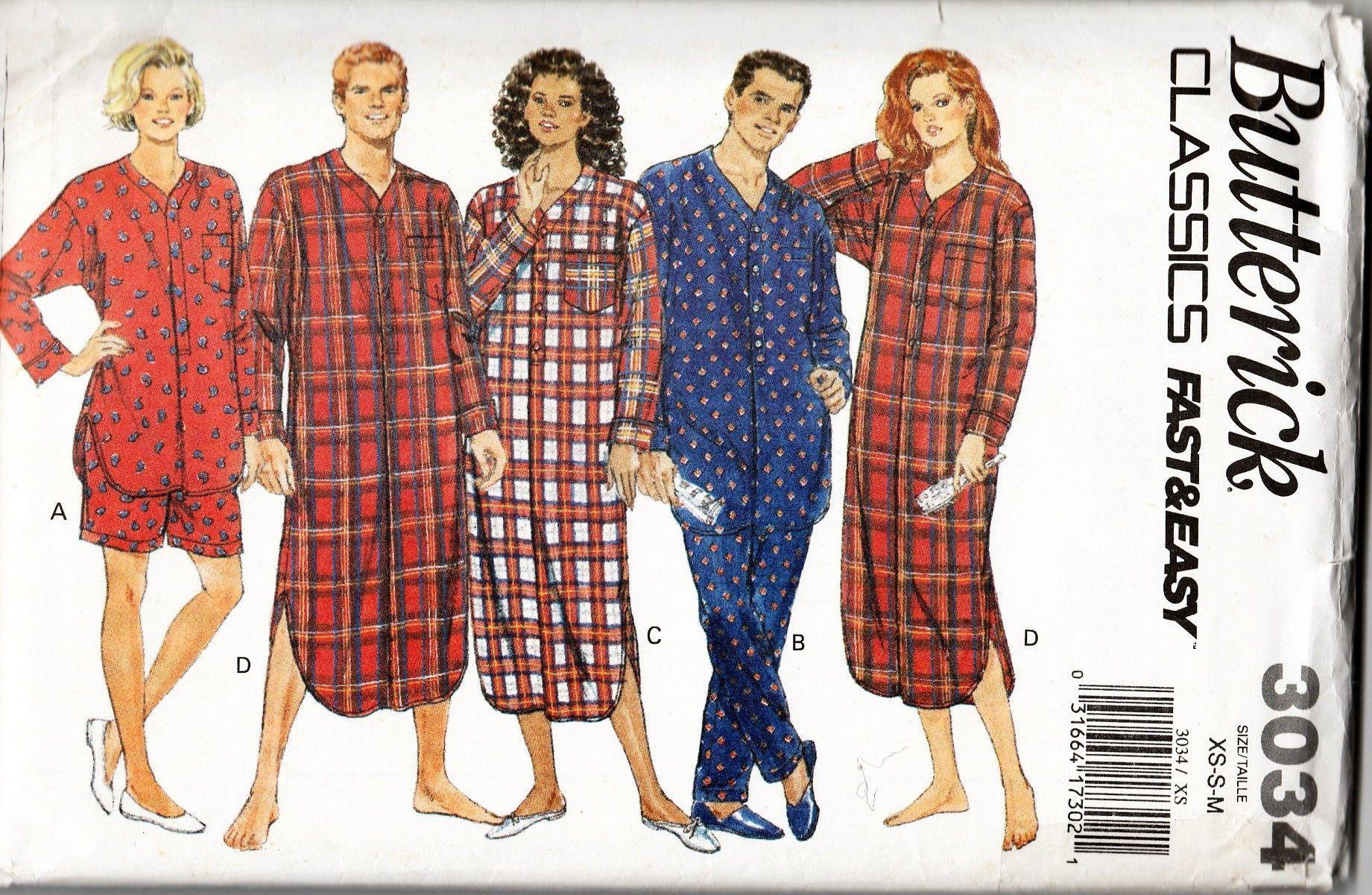9a54aa587f 90s Men Women Unisex PJs Pajamas Nightshirt Sleepwear Sewing Pattern  Butterick 3034 XS-S-M