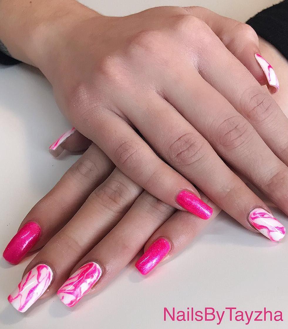 Hot Pink Marble Nails Pink Acrylic Nails Nail Designs Hot Pink Hot Pink Nails