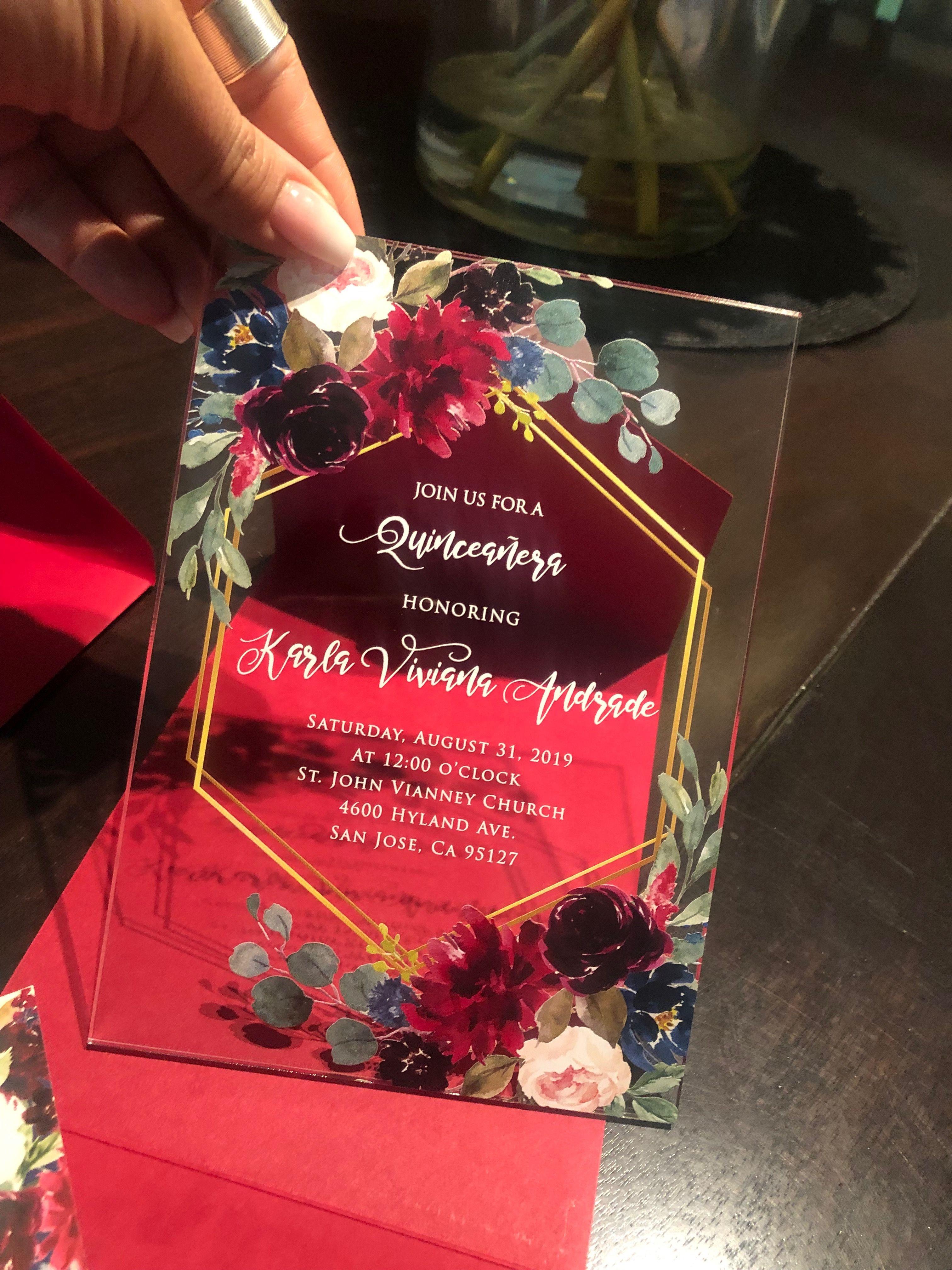 Clear Marsala flowers hexagon acrylic invite Marsala