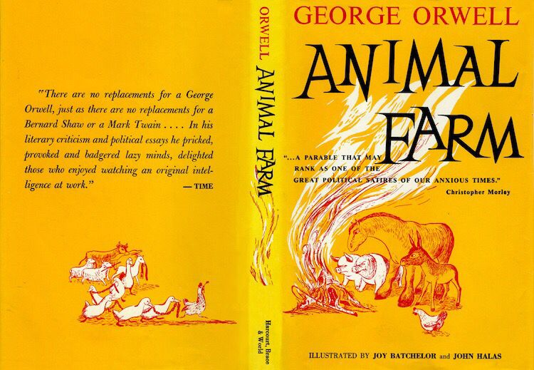 Animal Farm Book Cover Front Back Miniature Book Miniature Books Animal Farm Book Satire Books