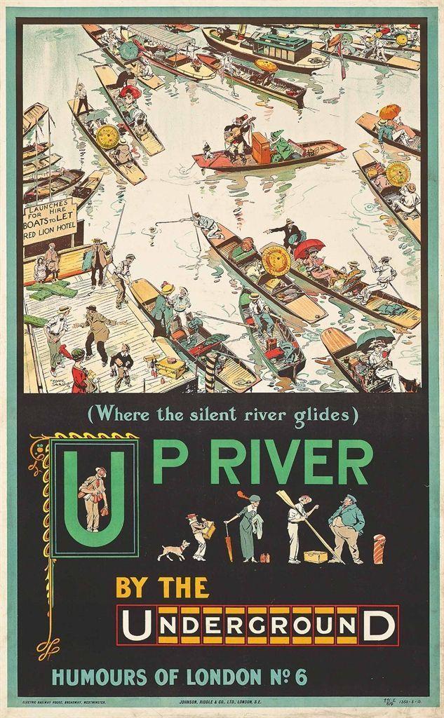 Humours of London No 6: 'Up River.' Tony Sarg (1880-1942)  Boating & Parasols