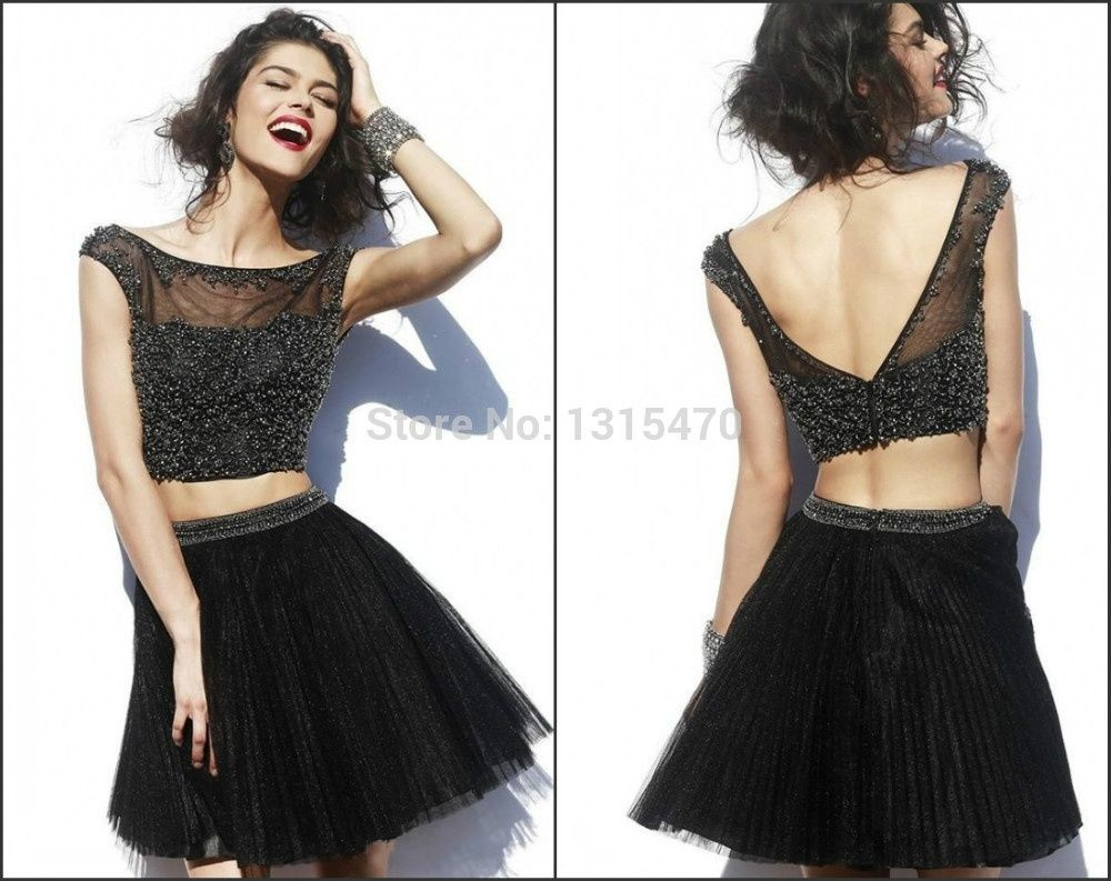 Classy tulle charming stars in the dark sequins lace v back short