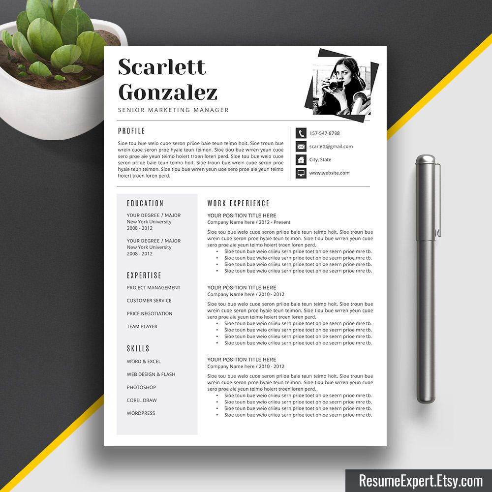 professional resume template cv template word us letter and a4 cover letter - Simple Resume Template Word