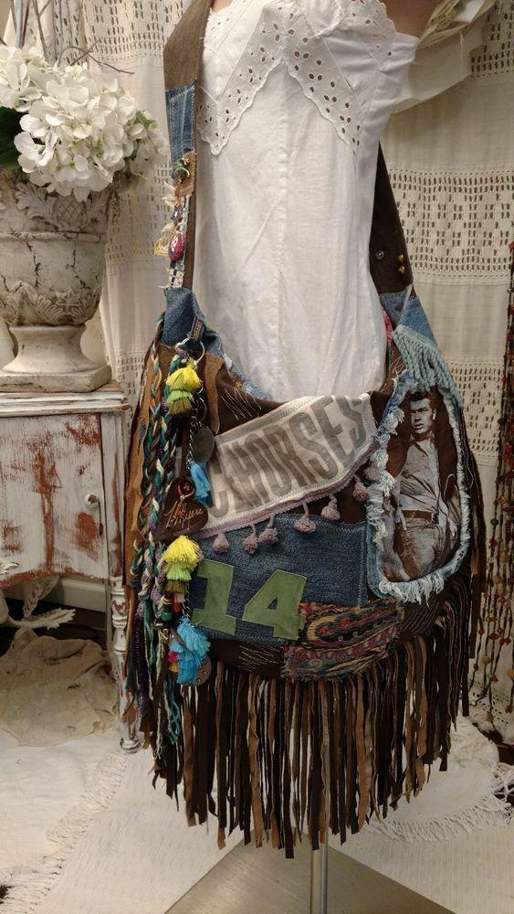 Handmade Canvas Denim Leather Fringe Tote Bag Hippie Festival Boho ...