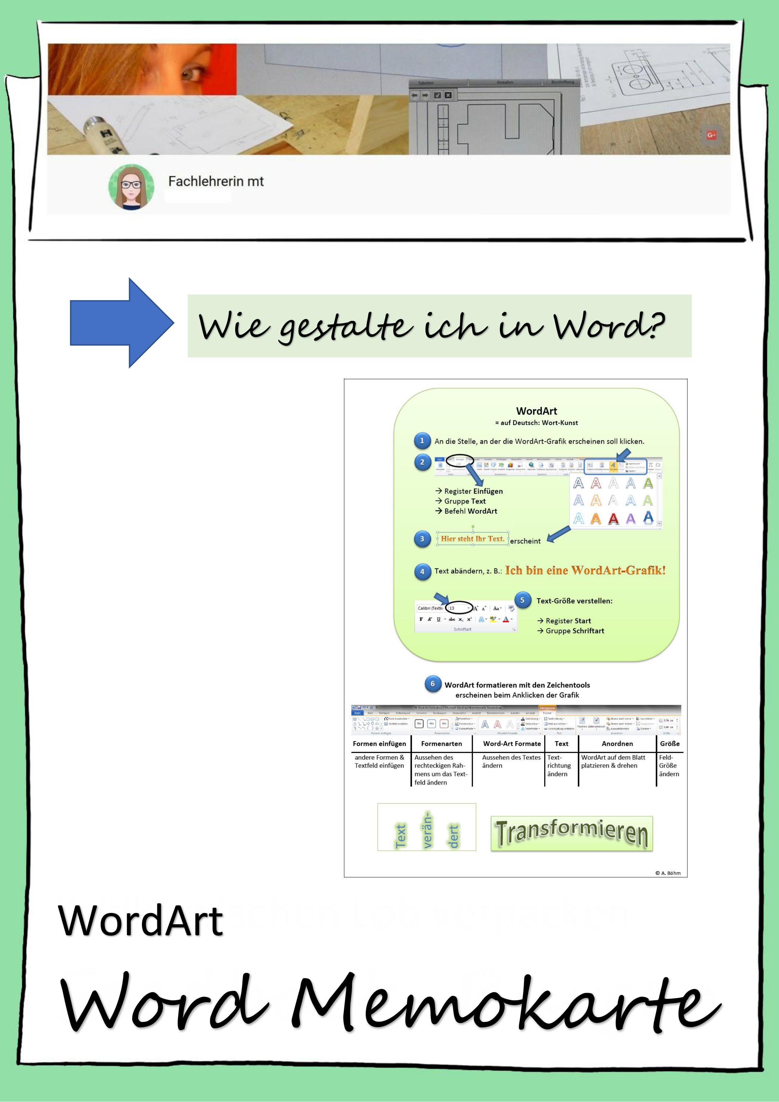 Microsoft Word Memokarte Wordart Unterrichtsmaterial Im Fach Informatik Itg Microsoft Word Unterrichtsmaterial Microsoft