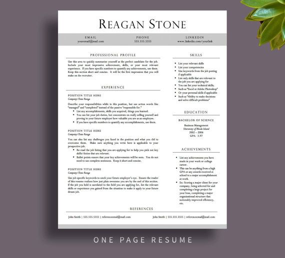 Professional Resume Template for Word \ Pages, Resume Cover Letter - pages resume templates free
