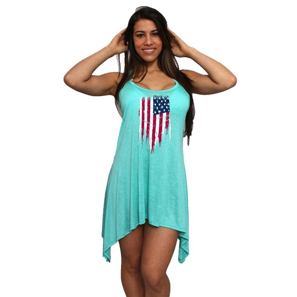 1ac7dc5b49 Women s USA Flag Distressed Flare Dress Swimwear Cover-up in 2019 ...