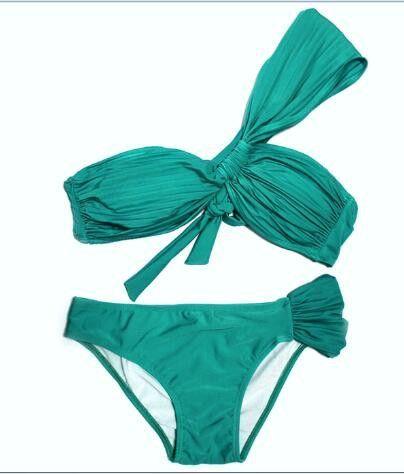 2017 new sexy swimwear swimsuits beach fringe split two piece women green Pleated bikinis solid bikinis tankini swimming wsw0524