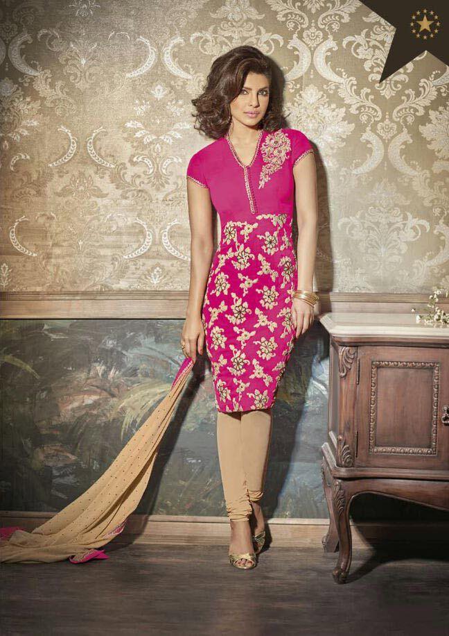 Priyanka Chopra In Semi Stitched Pink Stylish Suit
