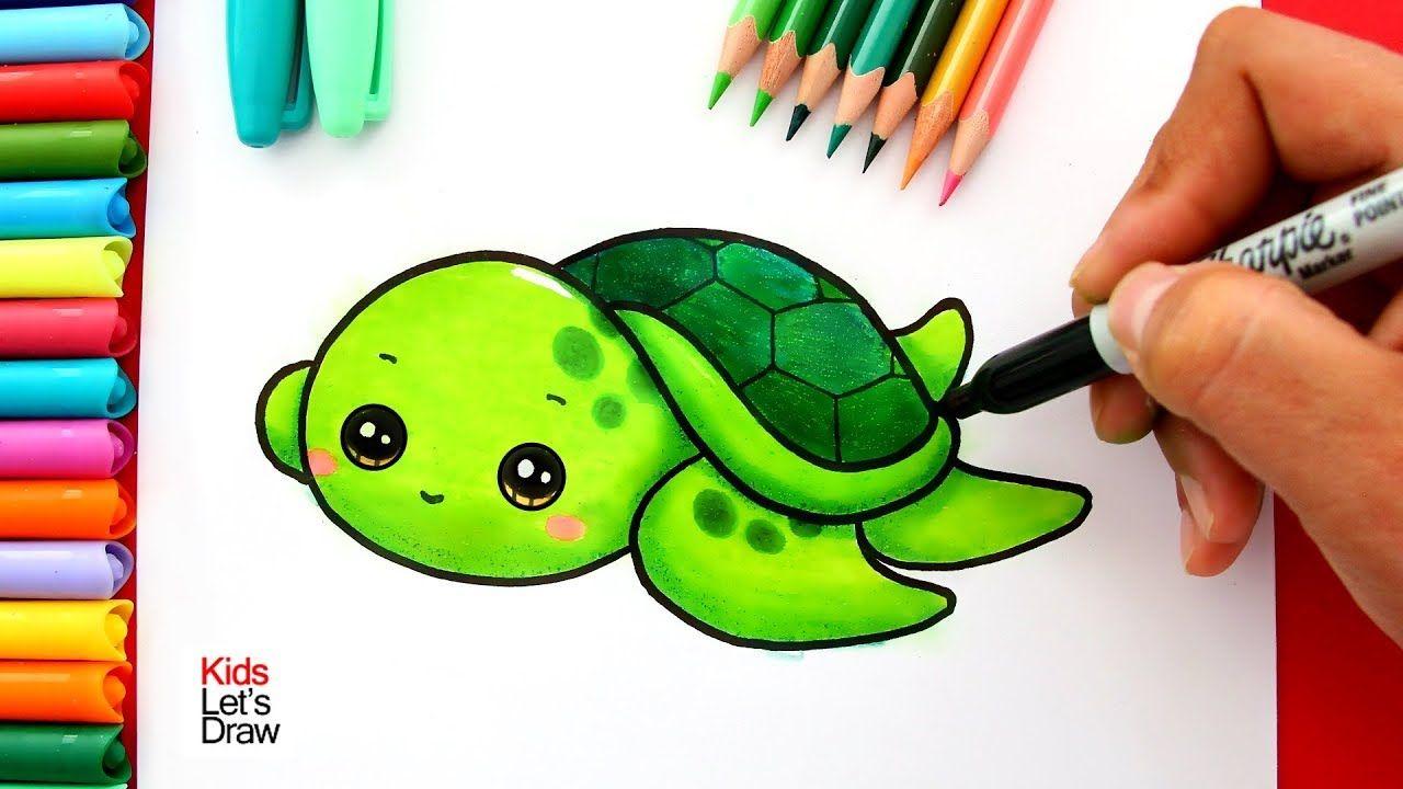 Aprende A Dibujar Una Tortuga Marina Bebe Kawaii How To Draw A Cute Ba Dibujo De Tortuga Dibujo De Una Tortuga Tortugas Marinas