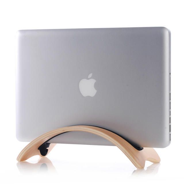 New Arc Shaped Birch Vertical Stand Laptop Wood Stand Holder for MacBook pro air