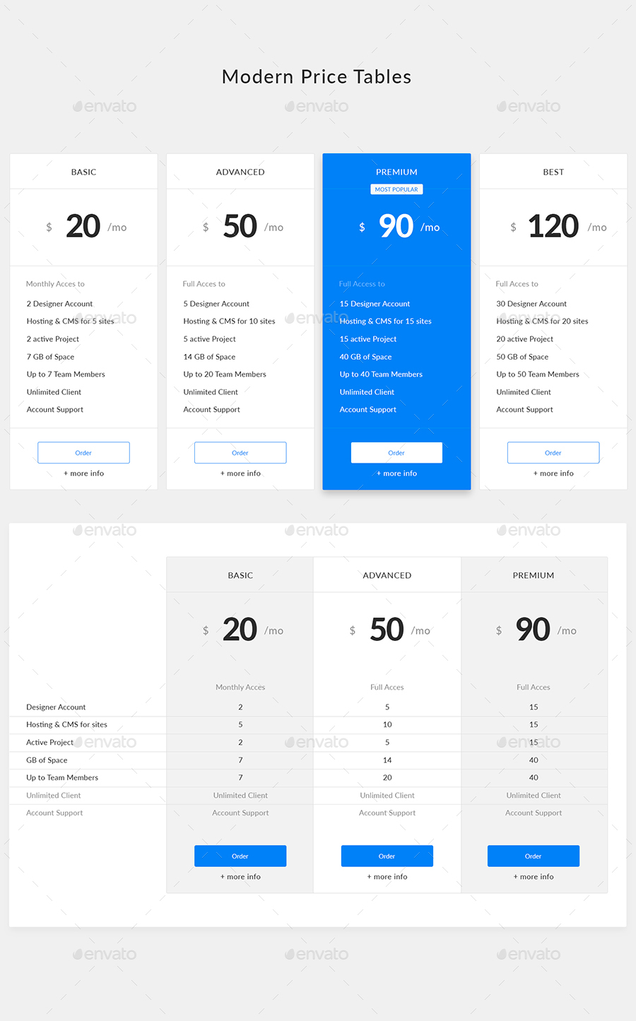 Modern Price Tables Preview GraphicRiver Simple