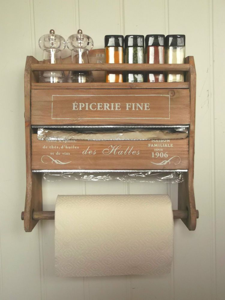 Shabby Chic French Kitchen Roll Dispenser Cling Film Tin Foil Holder