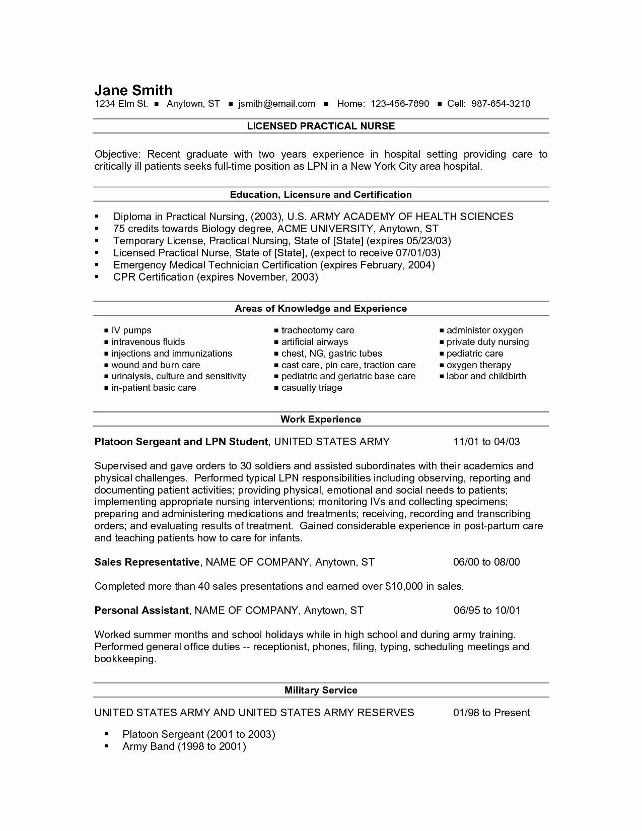 New Graduate Nurse Resume Examples Elegant New Grad Lpn Resume Resume Ideas Nursing Resume Template Lpn Resume Nursing Resume