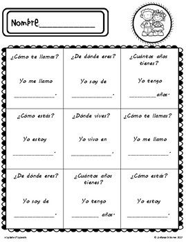 greeting introduction activity in spanish spanish resources spanish activities introduction. Black Bedroom Furniture Sets. Home Design Ideas