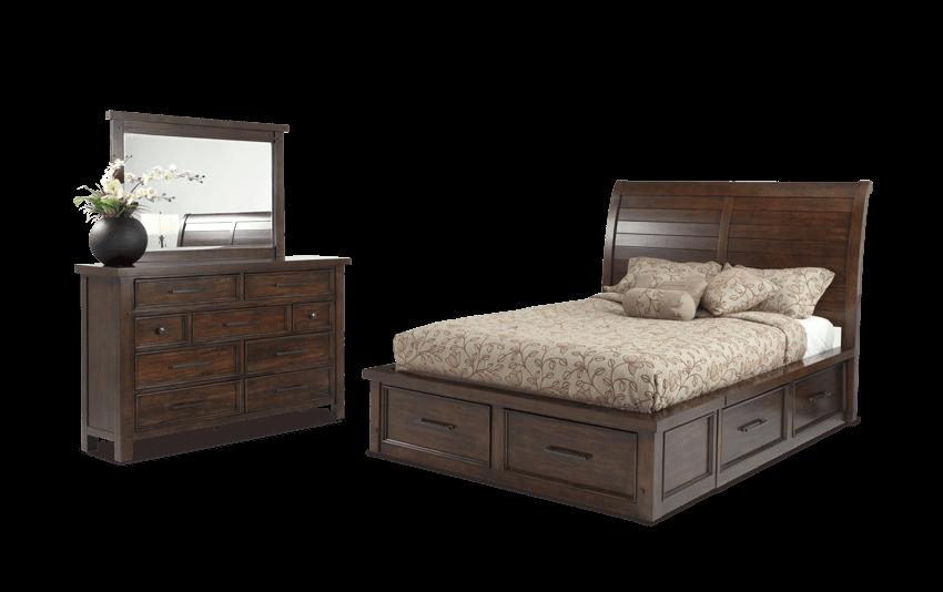Hudson Queen Pecan Storage Bedroom Set Bedroom sets