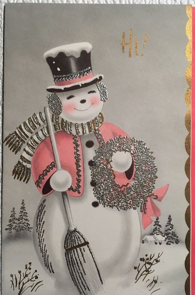 VINTAGE MID CENTURY USED CHRISTMAS CARD SILVER GLITTERED SNOWMAN