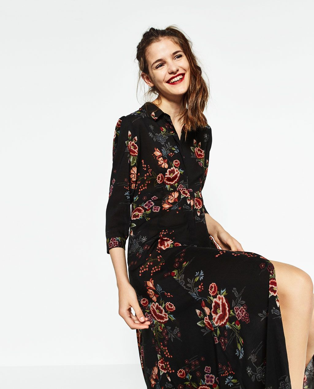 Vestido negro largo flores zara