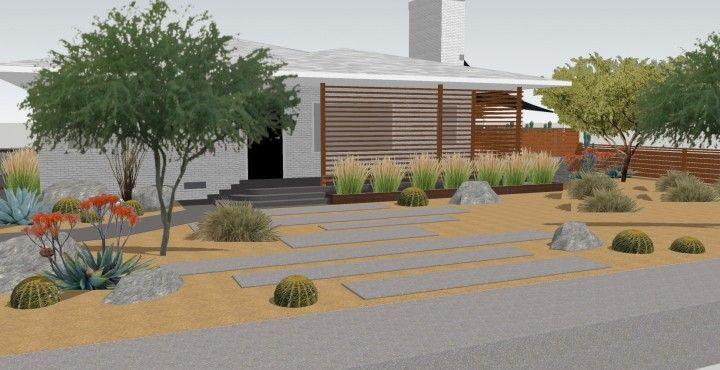 Front Yard Ideas On Pinterest Front Yards Landscaping: modern desert landscaping ideas