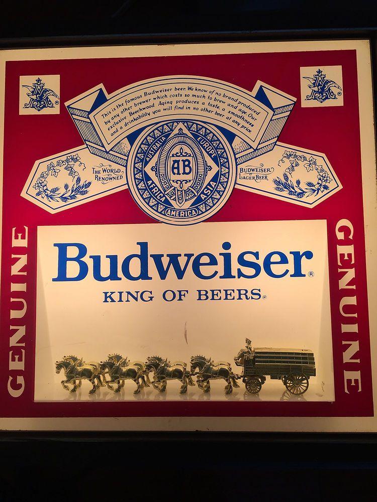 Vintage Budweiser Light Up Clydesdale Horse Bar Pub Sign Rare Mancave Decoration