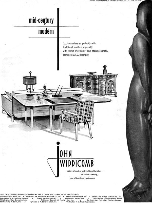 John Widdicomb Mid Century Modern Furniture Helen Key Oberg Sculpture 1951  Ad | EBay