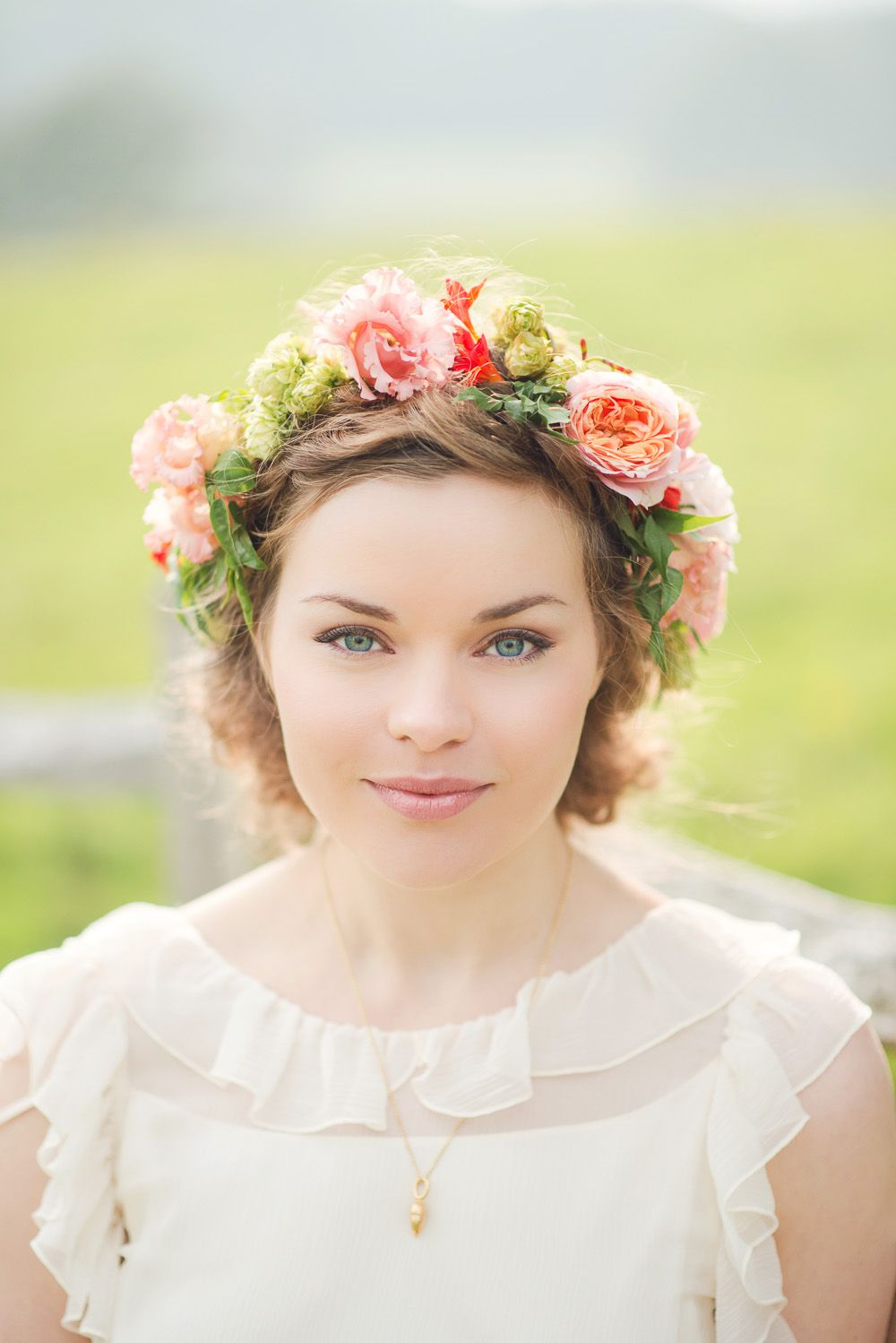 Flawless bridal make up with a stunning flower crown Image by Juliet Mckee Photography - A Vintage country style budget wedding with a flower crown a pink and coral colour scheme and a beautiful bride in a backless dress