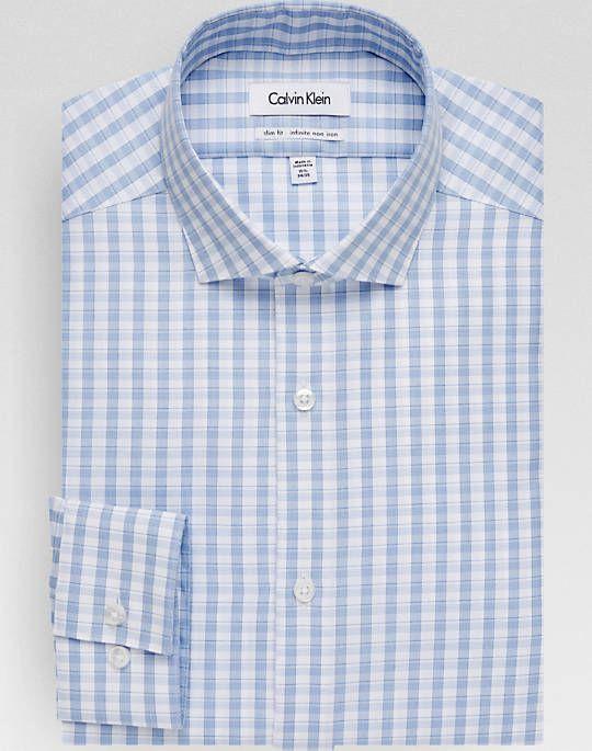 Calvin Klein Infinite Non Iron Light Blue Check Slim Fit Dress Shirt Men S Shirts Mens Shirt Dress Fitted Dress Shirts Slim Fit Dresses