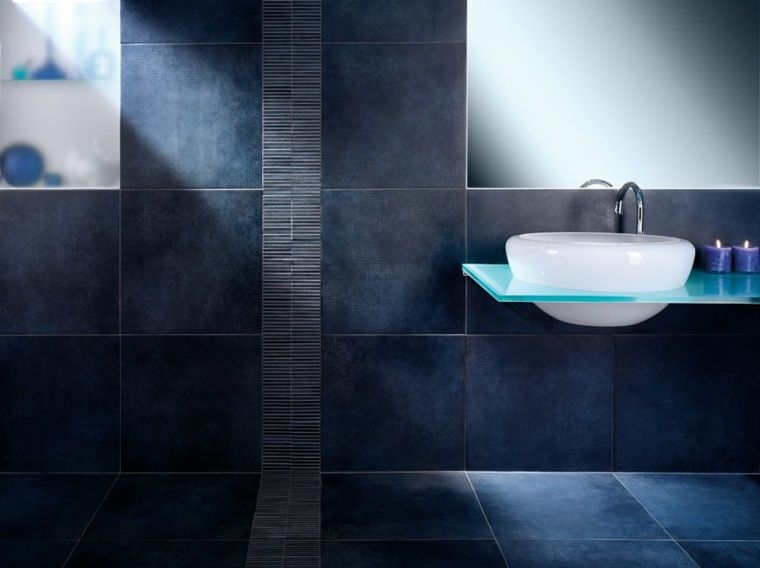 Carrelage Bleu Fonce Sticker Storage Bathtub Toilet