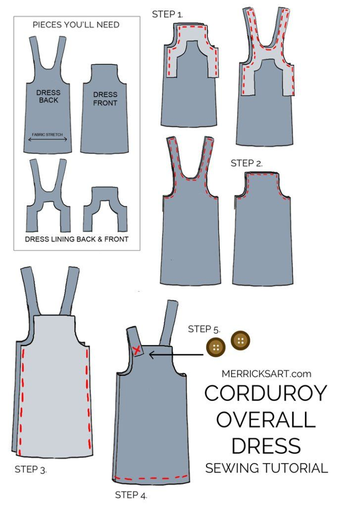 How to Make A Corduroy Overall Dress (Sewing Pattern)